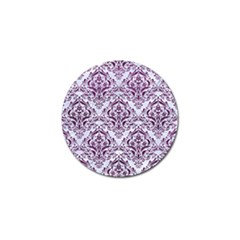 Damask1 White Marble & Purple Leather (r) Golf Ball Marker (10 Pack) by trendistuff