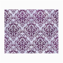 Damask1 White Marble & Purple Leather (r) Small Glasses Cloth