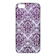 Damask1 White Marble & Purple Leather (r) Apple Iphone 5c Hardshell Case by trendistuff