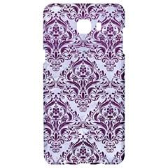 Damask1 White Marble & Purple Leather (r) Samsung C9 Pro Hardshell Case