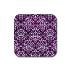 Damask1 White Marble & Purple Leather Rubber Square Coaster (4 Pack)  by trendistuff