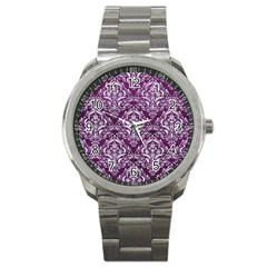 Damask1 White Marble & Purple Leather Sport Metal Watch by trendistuff