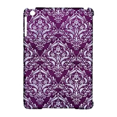 Damask1 White Marble & Purple Leather Apple Ipad Mini Hardshell Case (compatible With Smart Cover) by trendistuff