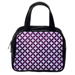 Circles3 White Marble & Purple Leather (r) Classic Handbags (one Side) by trendistuff