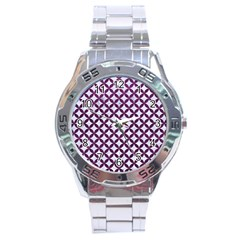 Circles3 White Marble & Purple Leather (r) Stainless Steel Analogue Watch