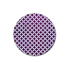 Circles3 White Marble & Purple Leather Rubber Round Coaster (4 Pack)  by trendistuff