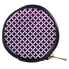 Circles3 White Marble & Purple Leather Mini Makeup Bags