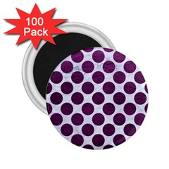Circles2 White Marble & Purple Leather (r) 2 25  Magnets (100 Pack)  by trendistuff