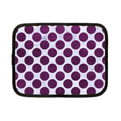 Circles2 White Marble & Purple Leather (r) Netbook Case (small)  by trendistuff