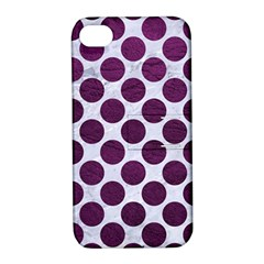 Circles2 White Marble & Purple Leather (r) Apple Iphone 4/4s Hardshell Case With Stand by trendistuff