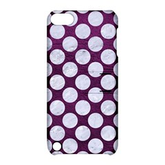 Circles2 White Marble & Purple Leather Apple Ipod Touch 5 Hardshell Case With Stand by trendistuff