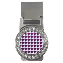 Circles1 White Marble & Purple Leather (r) Money Clips (cz)  by trendistuff