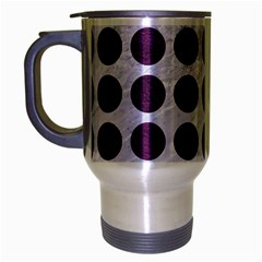Circles1 White Marble & Purple Leather (r) Travel Mug (silver Gray) by trendistuff