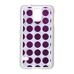 Circles1 White Marble & Purple Leather (r) Samsung Galaxy S5 Case (white) by trendistuff