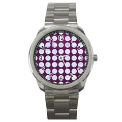 Circles1 White Marble & Purple Leather Sport Metal Watch by trendistuff