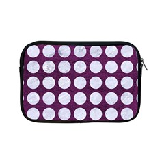 Circles1 White Marble & Purple Leather Apple Ipad Mini Zipper Cases by trendistuff