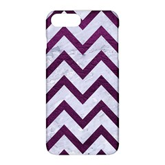 Chevron9 White Marble & Purple Leather (r) Apple Iphone 8 Plus Hardshell Case