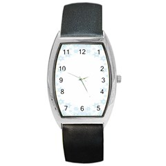 The Background Snow Snowflakes Barrel Style Metal Watch by Sapixe