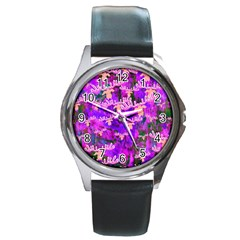 Watercolour Paint Dripping Ink Round Metal Watch