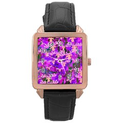 Watercolour Paint Dripping Ink Rose Gold Leather Watch  by Sapixe