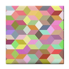Mosaic Background Cube Pattern Tile Coasters by Sapixe