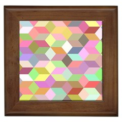 Mosaic Background Cube Pattern Framed Tiles by Sapixe
