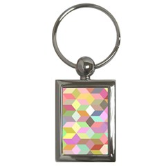 Mosaic Background Cube Pattern Key Chains (rectangle)  by Sapixe
