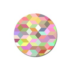 Mosaic Background Cube Pattern Magnet 3  (round) by Sapixe