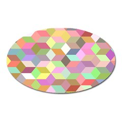 Mosaic Background Cube Pattern Oval Magnet by Sapixe