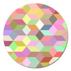 Mosaic Background Cube Pattern Magnet 5  (round) by Sapixe