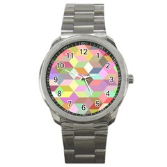 Mosaic Background Cube Pattern Sport Metal Watch by Sapixe