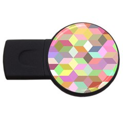 Mosaic Background Cube Pattern Usb Flash Drive Round (4 Gb) by Sapixe