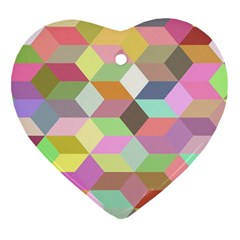 Mosaic Background Cube Pattern Heart Ornament (two Sides) by Sapixe