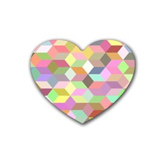Mosaic Background Cube Pattern Rubber Coaster (heart)  by Sapixe