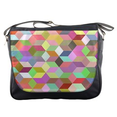 Mosaic Background Cube Pattern Messenger Bags by Sapixe