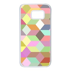 Mosaic Background Cube Pattern Samsung Galaxy S7 White Seamless Case by Sapixe