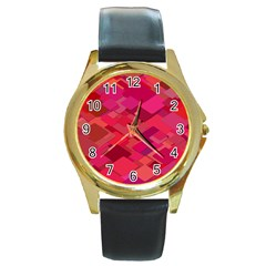 Red Background Pattern Square Round Gold Metal Watch by Sapixe