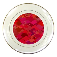 Red Background Pattern Square Porcelain Plates by Sapixe