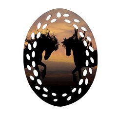 Horses Sunset Photoshop Graphics Oval Filigree Ornament (two Sides) by Sapixe