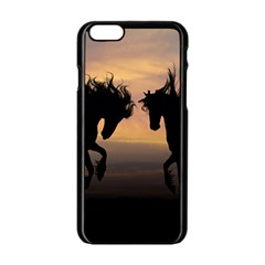 Horses Sunset Photoshop Graphics Apple Iphone 6/6s Black Enamel Case by Sapixe