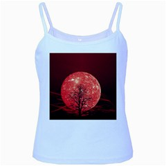 The Background Red Moon Wallpaper Baby Blue Spaghetti Tank by Sapixe