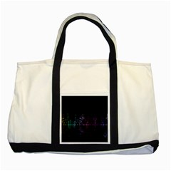 City Night Skyscrapers Two Tone Tote Bag by Sapixe