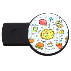 Colorful Doodle Soda Cartoon Set Usb Flash Drive Round (4 Gb) by Sapixe