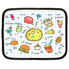 Colorful Doodle Soda Cartoon Set Netbook Case (large) by Sapixe