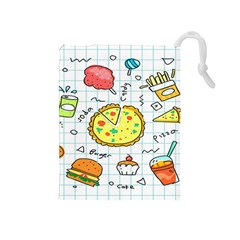 Colorful Doodle Soda Cartoon Set Drawstring Pouches (medium)  by Sapixe