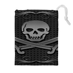 Skull Metal Background Carved Drawstring Pouches (extra Large) by Sapixe