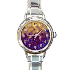 Fractal Rendering Background Round Italian Charm Watch