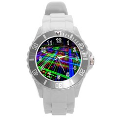 Electronics Board Computer Trace Round Plastic Sport Watch (l) by Sapixe