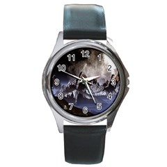 Mountains Moon Earth Space Round Metal Watch by Sapixe