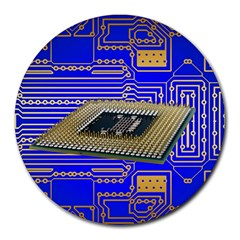 Processor Cpu Board Circuits Round Mousepads by Sapixe